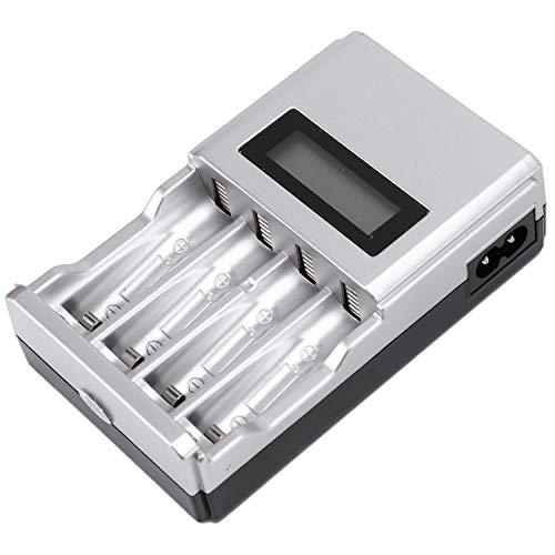 Kaxofang Cuatro Ranuras LCD Cargador De Batería Inteligente para AA AAA Baterías Recargables Baterías Recargables Ni-Mh Ni-CD AA AAA (EU Enchufe)