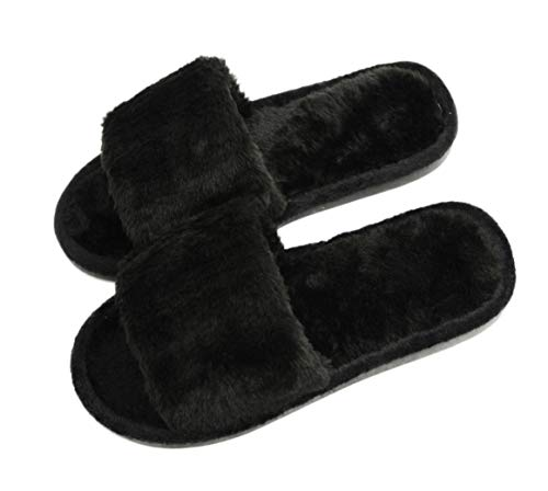 Women's Fuzzy Fluffy Furry Fur Slippers Flip Flop Open Toe Cozy House Memory Foam Sandals Slides Soft Flat Comfy Anti-Slip Spa Indoor Outdoor Slip on (02/Black, 9-10 M US)