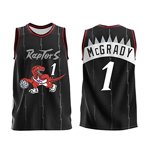 ZYJL McGrady - Camiseta de baloncesto para adulto, Raptors 1 # Retro Unisex sin mangas, ropa deportiva sin mangas, camiseta de baloncesto, traje de entrenamiento (M-6XL) negro-XXXXXXL