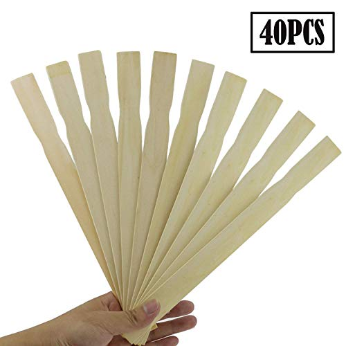 40PCS Fyess 10' Inch Premium Grade Wood Stirrers Paddles, Stir Paints, Wax, Mix Epoxy, Resin, Kids Craft, Wood Crafts Paddle, Hobby Projects, Library, Garden Marker to Mix Epoxy Or Pain (12inch)
