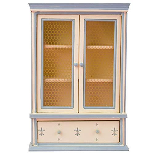 Tomaibaby Estantería de Casa de Muñecas en Miniatura Armario de Madera 1:12 Vitrina de Exhibición de Muebles Decoración Aparador Mini Armario de Muebles