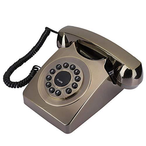 Mavis Laven Telefono Fisso retrò - Home Office Telefono Fisso retrò Telefono da Tavolo Multifunzionale Placcato in Bronzo(Bronzo)