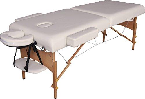 Mobile Massageliege Luxus, Holz, 192 x 70 cm, 2 Zonen, weiß