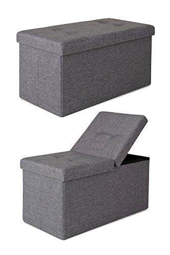 dibea SO00476, Sitzhocker mit Klappdeckel, 76 x 38 x 38 cm, Bezug Leinen grau
