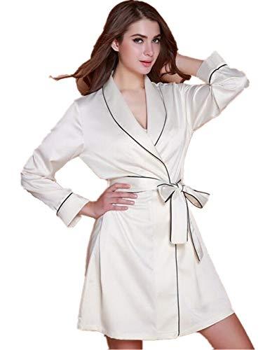 Crystallly Damas De Tramo Satinado Gasa Albornoz Dormir Pijamas Inicio Recorrido Estilo Simple De La Manera Pijamas Cómodos (Color : Blanco, Size : M)