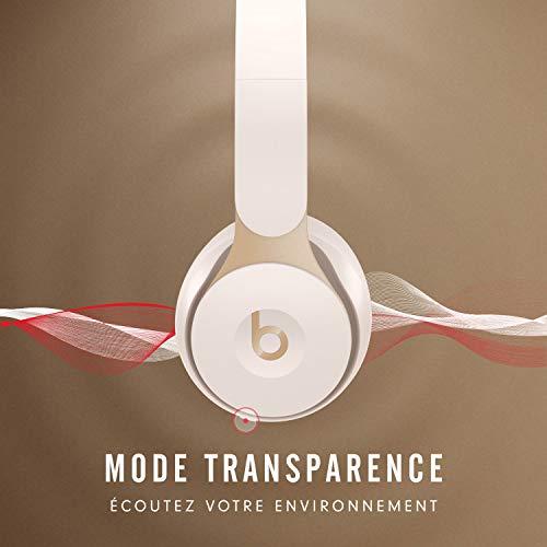 Casque Beats Solo Pro sans fil avec réduction du bruit - Puce Apple H1 pour casques et écouteurs, Bluetooth classe 1, mode Réduction active du bruit, mode Transparence, 22 heures d'écoute - Crème