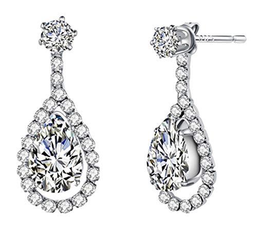 Best Wing Jewelry - Pendientes de lágrima, color blanco