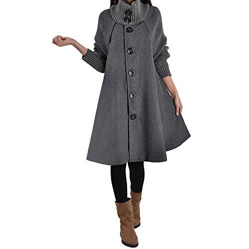 NPRADLA 2018 Herbst Frauen Mantel Winter Damen Strickjacke Lang Plus Größe Einfarbig Tasche Lose Hemdknopf Lässige(Grau,L)
