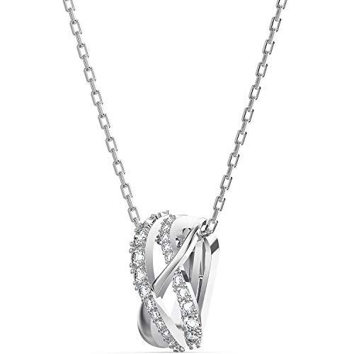 Swarovski Twist Set, Rhodinierte Halskette und Ohrringe mit Funkelndem Kristallpavé