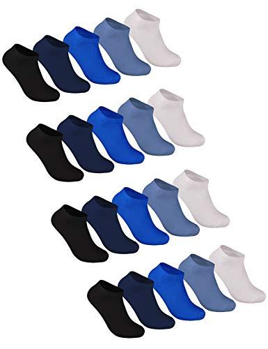 Sockenschuss 10   20   30 Paar Sneaker Socken Damen und Herren Schwarz und Weiß - Lange Haltbarkeit Dank Bester Qualität der Baumwolle (20x Blau-Mix, 43-46)