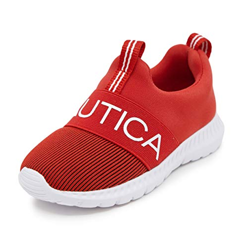 Nautica Kids Boys Fashion Sneaker Slip-On Athletic Running Shoe for Toddler and Little Kids-Mattoon-Red/White Ribbed-9