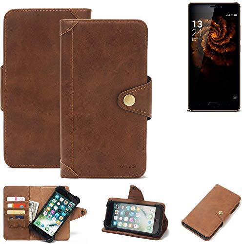 K-S-Trade® Handy Hülle Für Allview X3 Soul Pro Schutzhülle Walletcase Bookstyle Tasche Handyhülle Schutz Case Handytasche Wallet Flipcase Cover PU Braun (1x)