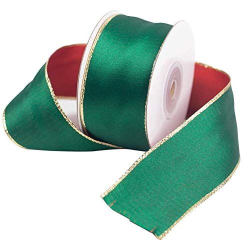 VGoodall 10 Yards Christmas Ribbon Double Faced Satin Ribbon with Gold Edges,Fit for Christmas Gifts Christmas Wreath Wedding Decoration (1.5 Inches)
