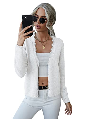 Romwe Women's Long Sleeve Soft Knit Sweater Open Front Button Down Lace V Neck Cardigan Coat White S