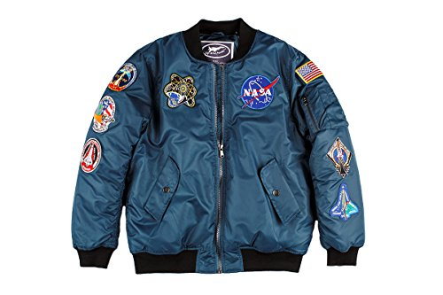 Mens NASA Space Shuttle Flight Blue Bomber Jacket