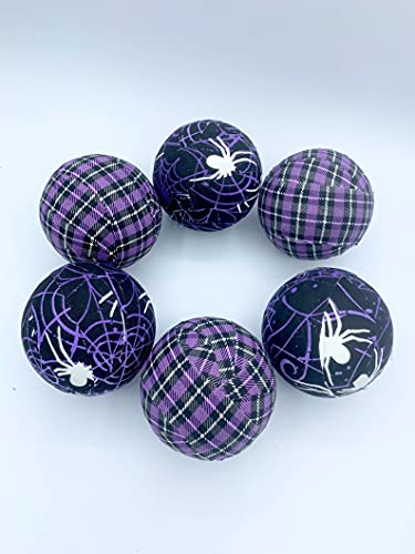 Spiderwebs n Plaid- purple- glow in the dark Halloween fabric wrapped balls- seasonal bowl filler orbs