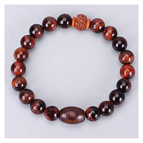 mimiliy Pulsera Beads, Natural Rojo Tigre Ojo de Piedra Pulsera Pulsera Mujer Tibetano Rudraksha Bead Stretch Pulsera Famale Yoga Chakra Joyería (Color : A)
