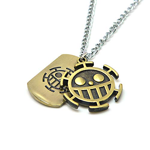 KOGNGU One Piece Trafalgar Law Necklace Chain Pendant Anime Cosplay (Metal Chain & Bronze)