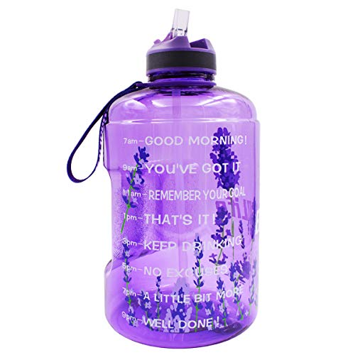 BuildLife Gallon Motivational Water Bottle with Time Marked to Drink More Daily - BPA Free Reusable Gym Sports Outdoor Large 128oz Capacity(Lavender, 1 Gallon)
