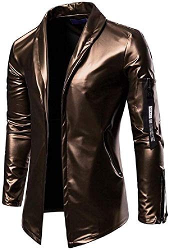 Men Blazer Fall Winter Pu Leather Regular Fit Stretchy Pu Leather Moto Jacket Coat