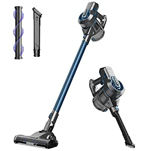 NOVETE Cordless Vacuum Cleaner, 2 in 1 Cordless Stick Vacuum with LED Cleaning Head and Wall Mount, Lightweight Bagless Handheld Vacuum, Detachable Lithium Battery