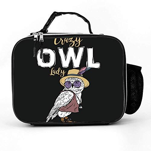 Removable Shoulder Reusable C-razy O-wl Lady Lunch Bag, Best Lunchbox For Womens Mens Boys Girls