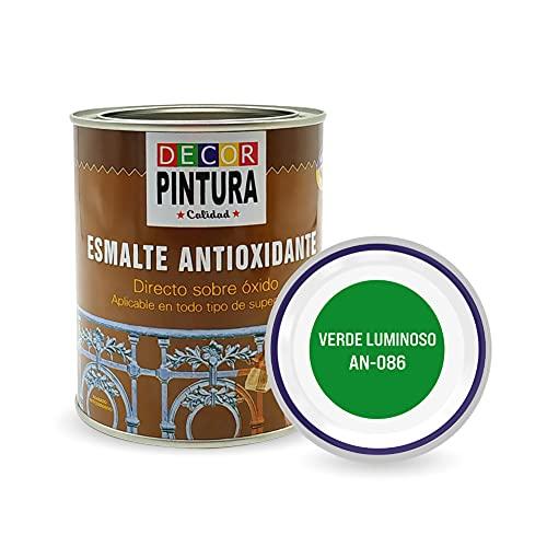 Pintura Verde Luminoso Antioxidante Exterior para Metal minio Pinturas Esmalte Antioxido para galvanizado, hierro, forja, barandilla, chapa para interiores y exteriores - Lata 750ml