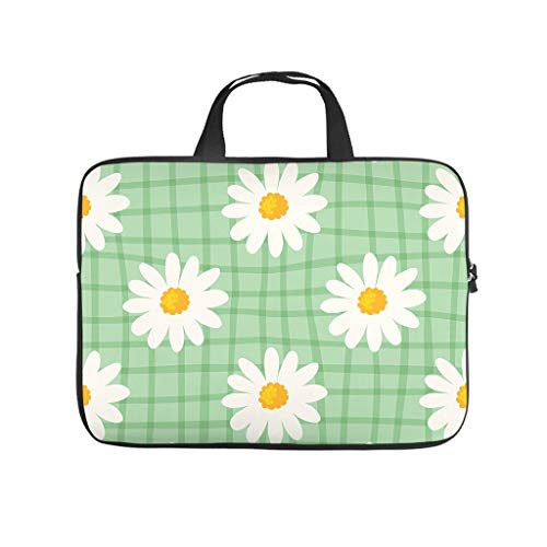 Green Summer White Daisy Full Print Laptop Bag Protective Slim Neoprene Laptop Bag Case Cover Trendy Notebook Sleeve Case for Boyfriend Girlfriend