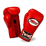 Twins Special Gloves Lace Closure BGLL-1 Color Red Size 8, 10, 12, 14, 16 oz for Muay Thai, Boxing, Kickboxing, MMA (Red,10 oz)
