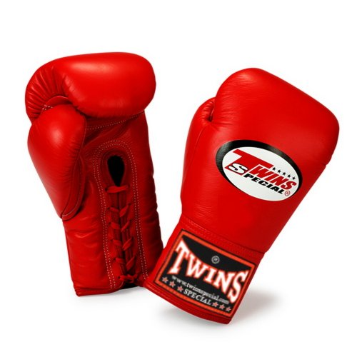 Twins Special Gloves Lace Closure BGLL-1 Color Red Size 8, 10, 12, 14, 16 oz for Muay Thai, Boxing, Kickboxing, MMA (Red,12 oz)