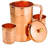 Copper Pitcher and 2 Tumbler Set, Pure Copper Jug, Handmade, 54 Ounce, Best for Water, Ayurveda,...