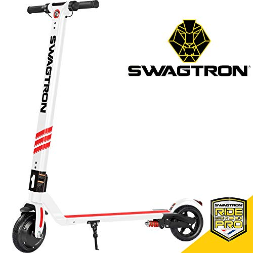 Swagtron Pro Foldable Electric Scooter w/Cruise Control, 14.2-Mile Range, Rear...