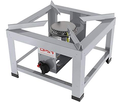 ChattenGlut Professional Hockerkocher HK402810 - freistehendes Tischgerät aus Edelstahl mit Brenner - 10kW, regelbar für Flüssiggas, 400x400x280 mm, incl. Schlauch und Regler 50mbar