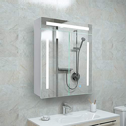 Janboe Spiegelschrank Bad mit Beleuchtung Doppeltür Badezimmer Spiegelschrank 60 cm Breit in Weiß,Dimmfähigkeit mit Speicherfunktion 600x700x140mm