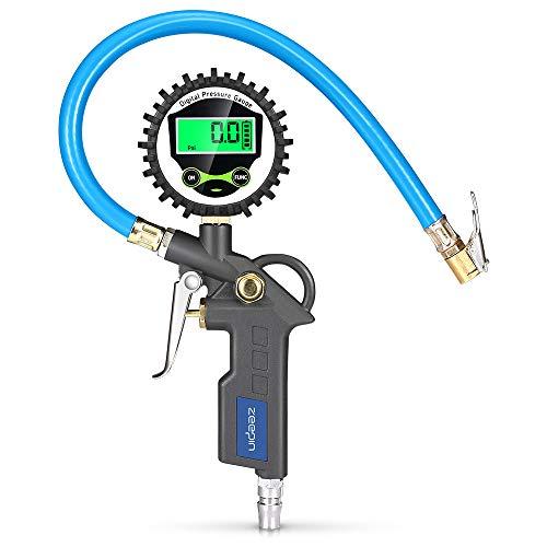 エアゲージ タイヤ 空気圧 タイヤ ゲージ エアチャック 車 タイヤ 空気入れ 一台3役 空気圧測定 エア抜き エアーゲージ エアゲージ デジタル エアチャックガン LCD 0〜220PSI 高い精度 亜鉛合金 バイク 自転車 様々な車に対応出来 ブラック