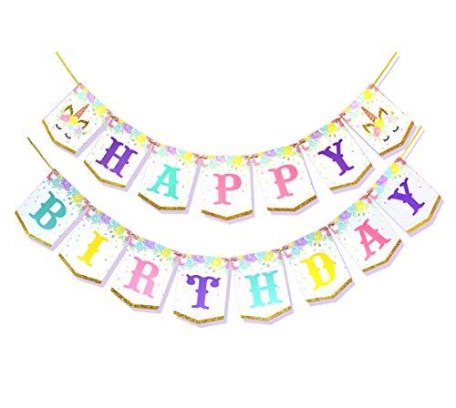 Regendeko Guirnalda de unicornio con texto 'Happy Birthday', decoración para fiestas de cumpleaños