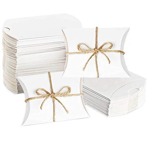 Caja de Papel Kraft, 50 Piezas Cajas de Regalo de Almohada Blanca, Cajas Almohada Blancas para Regalos, Cajas de Regalo Kraft vintage, para Cumpleaños, Bodas, Aniversario, Fiesta Navidad, Decoración