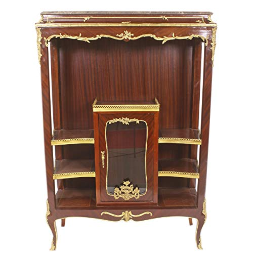 Casa Padrino Barock Vitrine Bücherschrank - Barock Möbel - Vitrinenschrank 100 x 44 x H 150cm - Wohnzimmerschrank Schrank Mahagoni/Gold