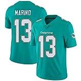 Maillot De Football NFL pour Homme Miami Dolphins # 13 Dan Marino Maillot De Football à Manches Courtes NFL Sport Top T-Shirt Jersey