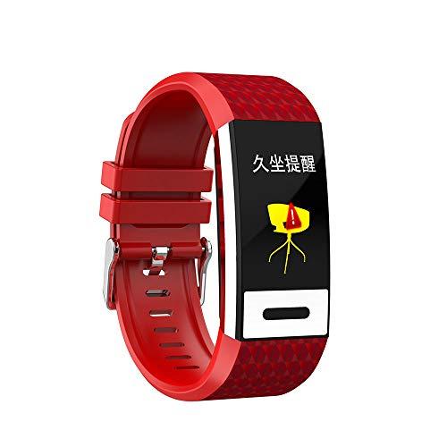 Smart fitness horloge armband Bluetooth smart touchscreen met hartslagmeting stappenteller fitness tracker polsbandje geschikt voor mannen en vrouwen, compatibel met Android iOS,Red