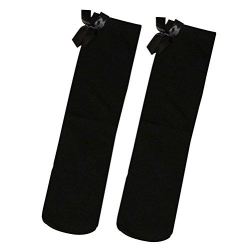 BESTOYARD 1 par de rayas rodilla rodilla calcetines altos con un precioso arco del cordón Medias Altas para Negro