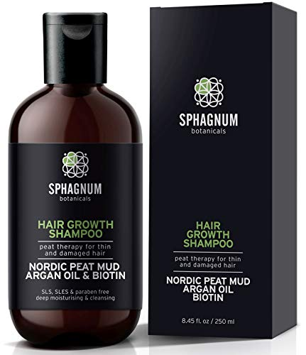 Haarausfall Shampoo mit Heiltorf, Argan Öl und Biotin – 100% frei von Sulfaten, Parabenen. Effektive Behandlung von dünnem & geschädigtem Haar. Das beste Frauen Shampoo für Haarwachstum