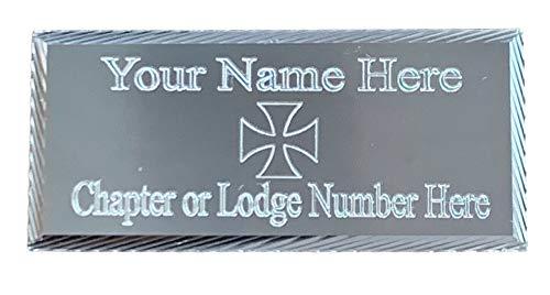 Emblems-Gifts (MP24 55 mm x 25 mm, personalisierbar, Tempelritter, Silber mit Diamantschliff