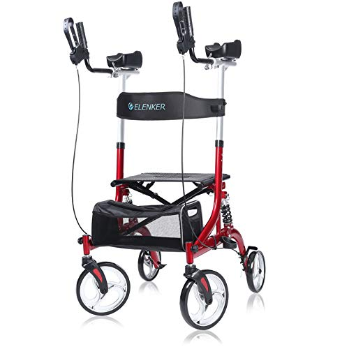 "ELENKER Upright Rollator Walker, Stand Up Rollator Walker with Shock Absorber, 10"" Front Wheels and Carrying Pouch, Suitable for Outdoor, Red"