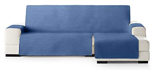 JM Textil Copridivano Salvadivano Chaise Longue Elena, Protezione Imbottita per divani Bracciolo Destro. Dimensione -290cm. Colore Blu 03 (Visto di Fronte)