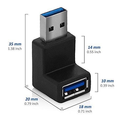 deleyCON USB 3.0 Winkel Adapter - 90° Grad Winkeladapter - A-Stecker zu A-Buchse - Kompatibel mit Allen USB Kabeln - Optimale Kabelführung