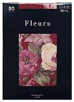 (フルール) Fleurs 80デニール トッカータ 花柄 プリント タイツ(日本製 ゾッキ タイプ) M-L ワイン