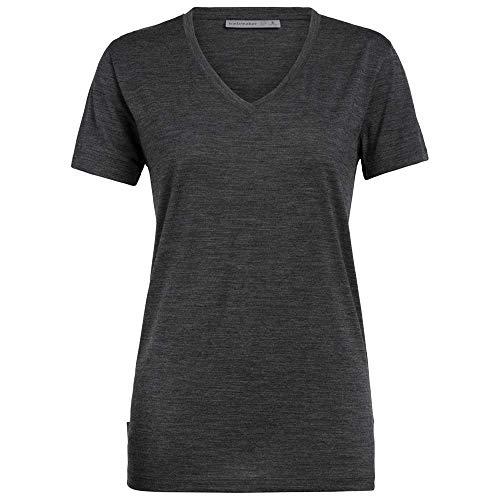 Icebreaker Ravyn T-Shirt Manches Courtes à col en V Femme, Jet Heather Modèle S 2020 Tshirt Manches Courtes