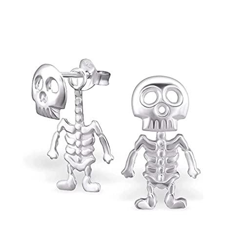MRDUEWS 2 pares de aretes de esqueleto, pendientes de huesos del cráneo gótico, tachuelas de oído de calavera de estilo punk, huesos de esqueleto y encanto de cráneo cuelgan pendientes de acero inoxid