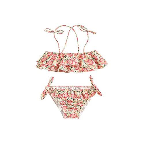Mantimes Traje de baño para niña de dos piezas dividido para niños, adecuado para entretenimiento al aire libre y barbacoa en la playa entre 2 y 13 años (rosa, 24 m)